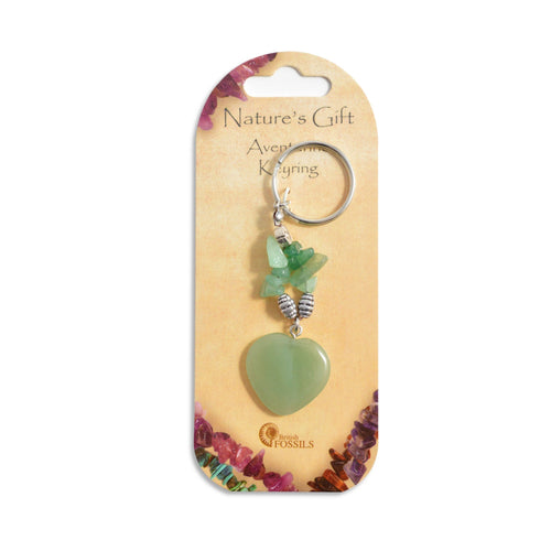 Natures Gift Gemstone Heart Keyrings