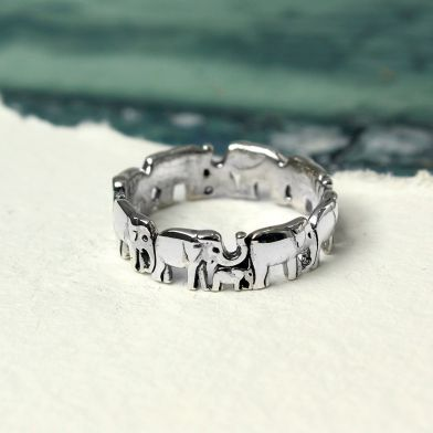 Mother & Baby Elephant Sterling Silver Ring