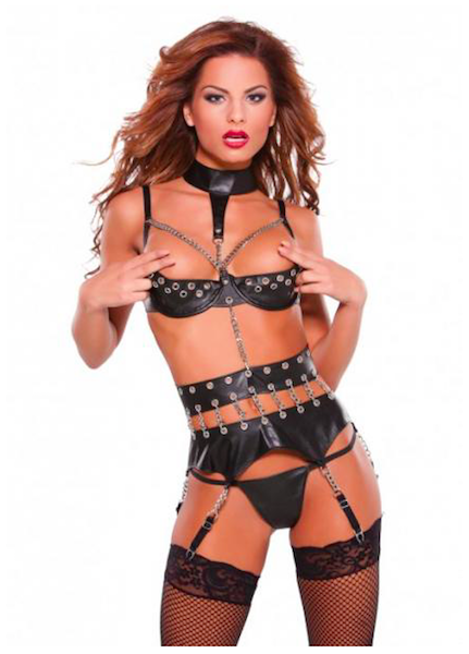 Faux Leather Garterbelt, Bra, & GString- Black