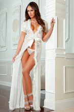 Lace Fur Trim Robe and Thong- White