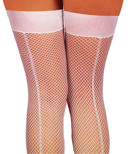 Thigh High Fishnet with Back Seam- White