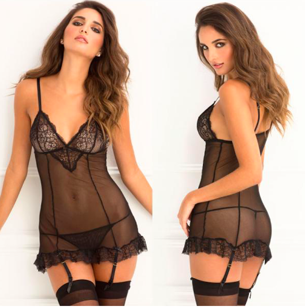 Lace Garter Chemise and G-String Set