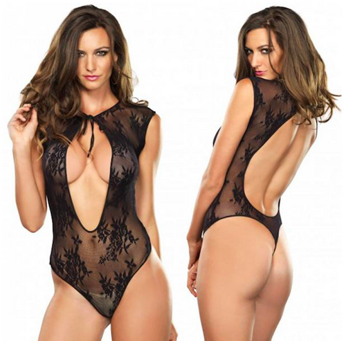 G-String Lace Teddy with Holes Front and Back