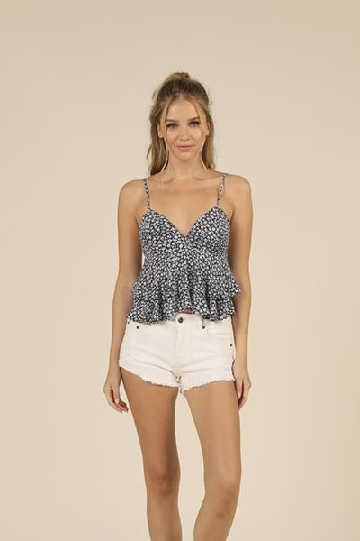 OCEAN DRIVE/VH DITSY FLORAL RUFFLE TANK