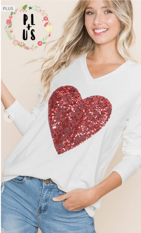 Plus Size Ivory Long Sleeve Top With Red Heart