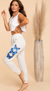 Heather Gray Butterfly Sweatpant