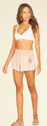 Primrose Crepe Smocked Shorts With Skull