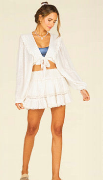 OCEAN DRIVE/ VH WHITE SEQUIN SMOCKED MINI SKIRT