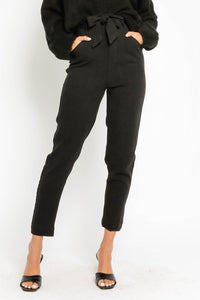 BLACK HIGH WAISTED PAPERBAG PANTS