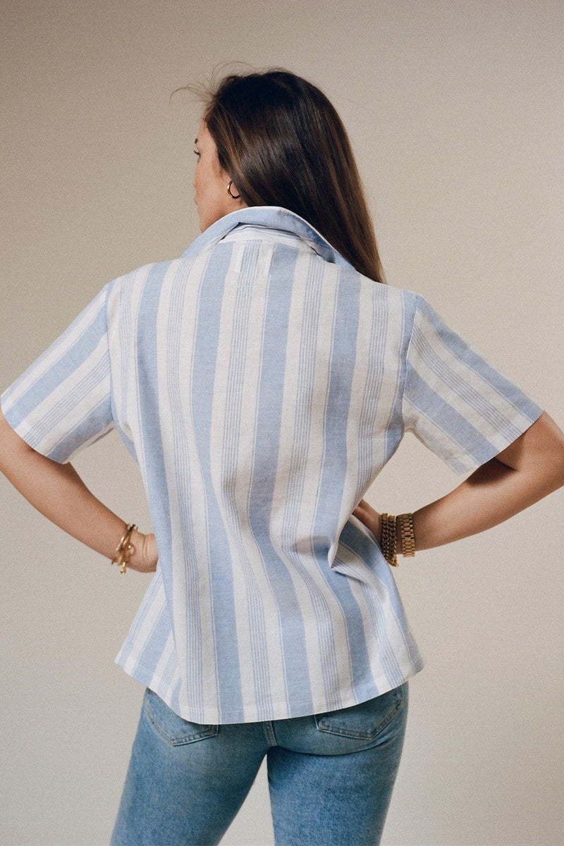 The Cabana: Blue Stripe Weave - With Nothing Underneath