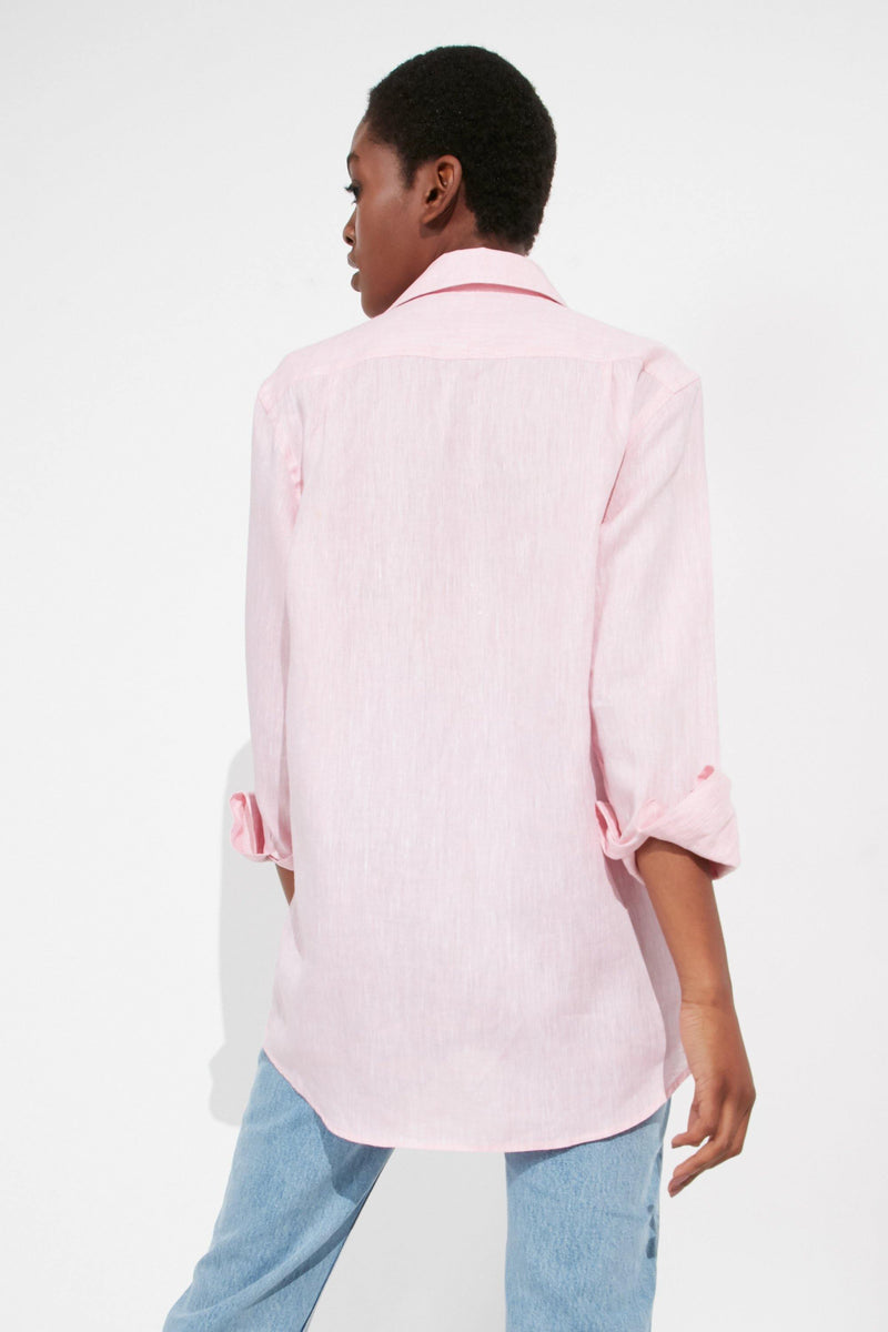 The Boyfriend: Linen, Grapefruit Pink - With Nothing Underneath