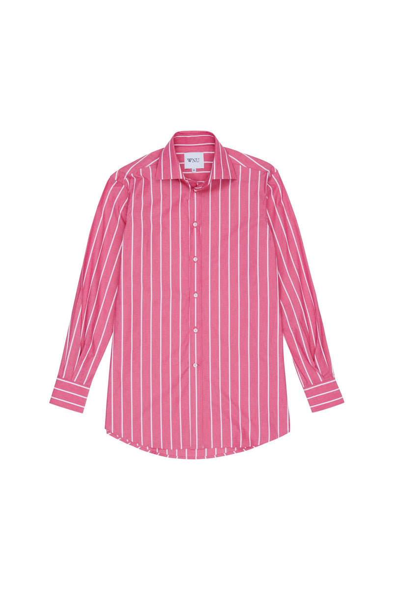 POPLIN: Raspberry & White Stripe