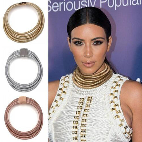 Choker Necklace Multilayer Coiled Rope Kim Kardashian