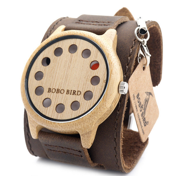 Rotary Watch:  Wooden Quartz Watch with Leather Bracelet