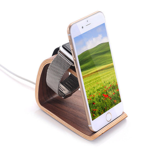 Wooden Phone Holder: 2-in-1 (Charger Dock For Apple Watch +Smartphone holder)