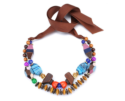Colorful Wooden Necklace: Summer Seashore