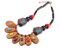 Wooden Handmade Necklace: Multi-colorful Wooden Crystals