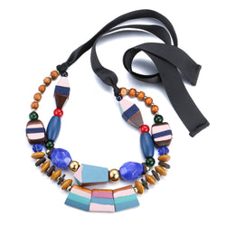 Ethnic Wooden Necklace: Colorful Touch