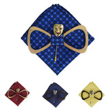 Theatrical Art: Handmade Wooden Bow Tie with Brooch and Handkerchief