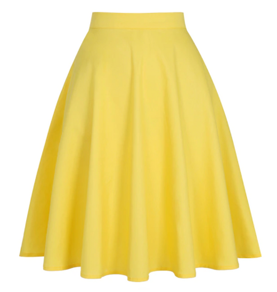 50s Yellow Classic Plain Circle Skirt - Ma Penderie Vintage
