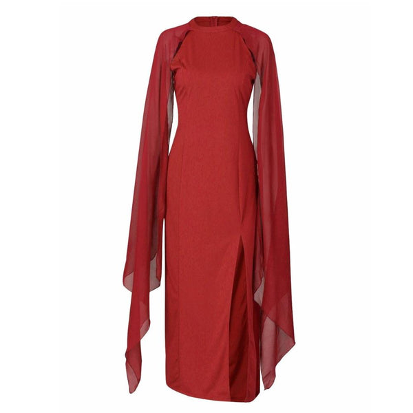 70s Long Red Disco Evening Dress - Ma Penderie Vintage