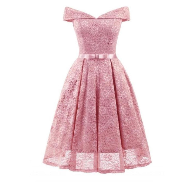 50s retro neckline dress in pink lace - Ma Penderie Vintage