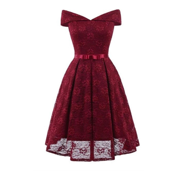 50s Retro Dress In Burgundy Lace - Ma Penderie Vintage