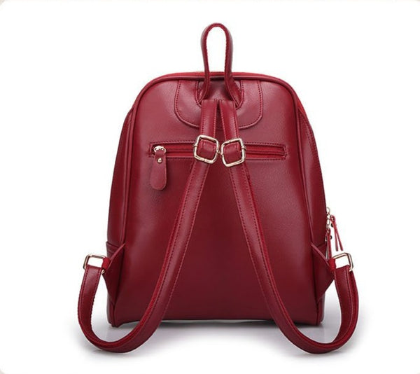 50s Leather Backpack Pin Up Retro Burgundy - Ma Penderie Vintage