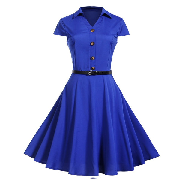50s Rock a Billy Blue Bowling Dress - Ma Penderie Vintage