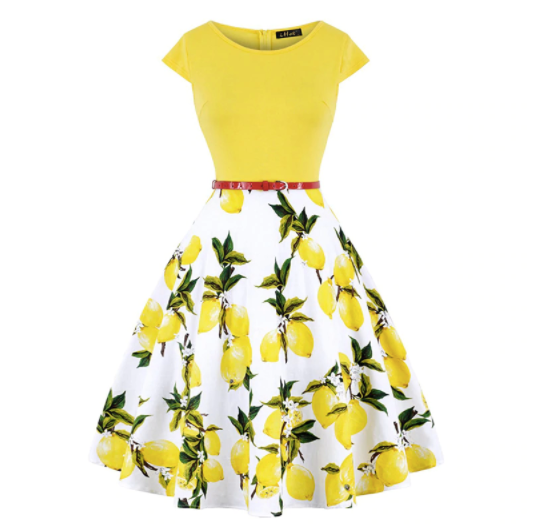 50s Lemon Print Flared Dress - Ma Penderie Vintage