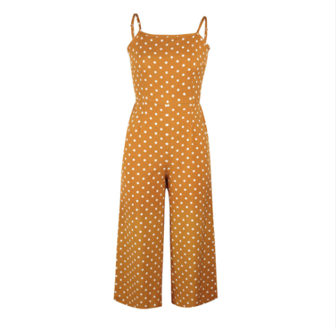 60s Retro Bardot Jumpsuit With Yellow Polka Dots Ma Penderie Vintage