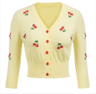 50s Retro Pin Up Cardigan Cherry Embroidery 50s Retro Pin Up Cardigan Cherry Embroidery Yellow - Ma Penderie Vintage