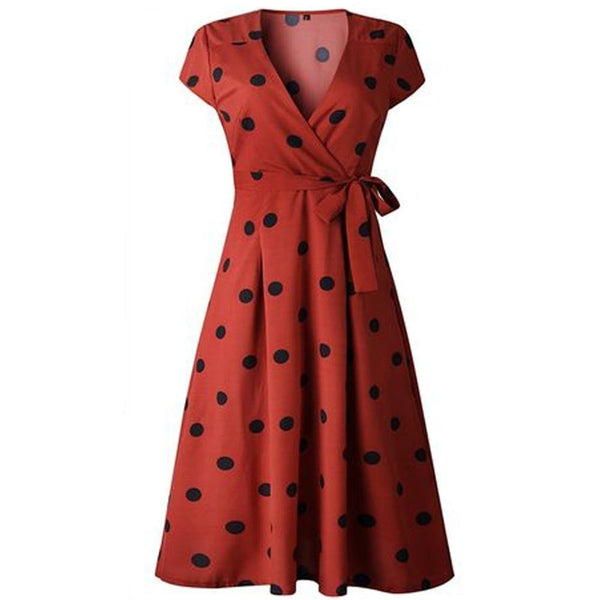 50s Pin Up Wrap Dress Polka Dots Red - Ma Penderie Vintage