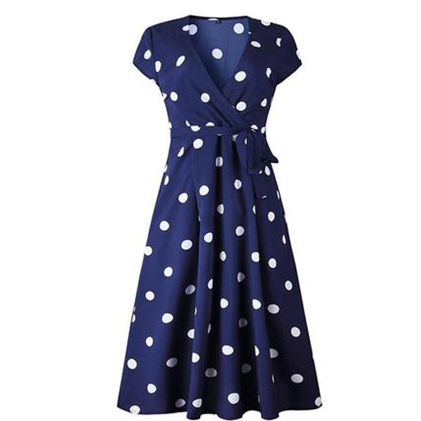 50s Pin Up Wrap Dress Polka Dots Navy Blue - Ma Penderie Vintage