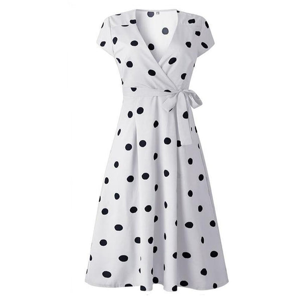 50s Pin Up Wrap Dress Polka Dots White - Ma Penderie Vintage