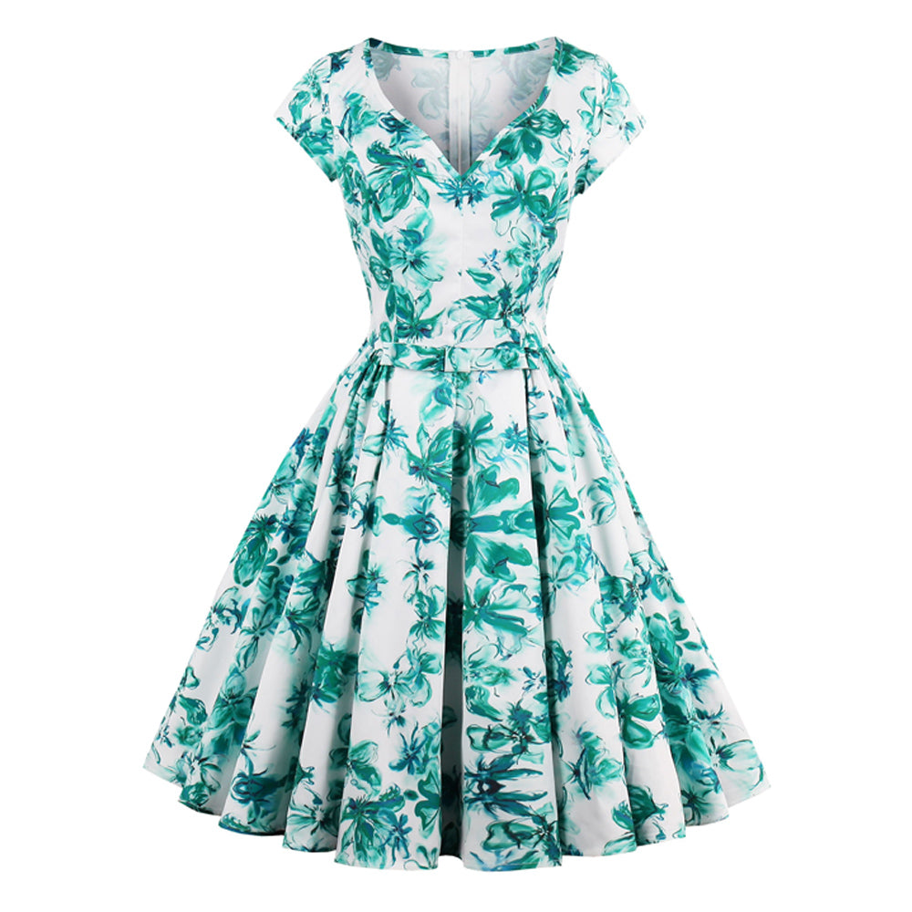 50s PIN UP Floral Retro Flare Dress