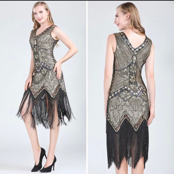 20s The Great Gatsby Retro Sequin Evening Dress