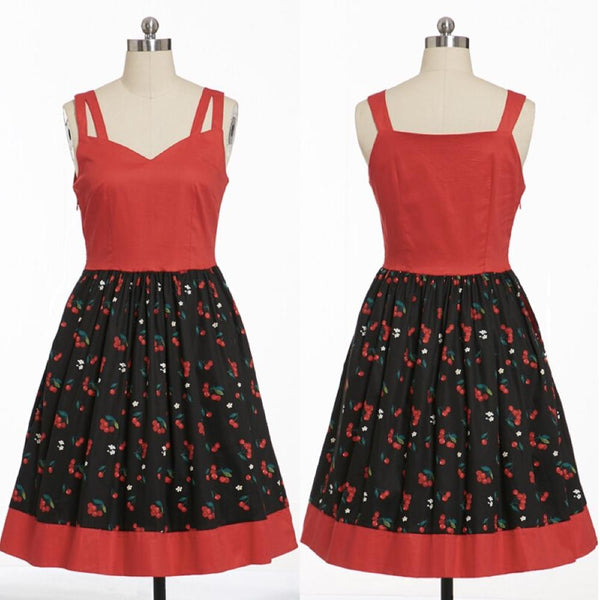 50s Cherry Print Pin Up Dress - Ma Penderie Vintage