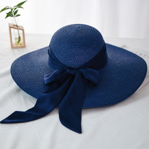 40s Navy Romantic Knot Straw Hat - Ma Penderie Vintage