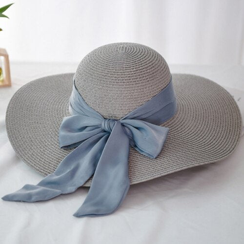 40s Gray Romantic Knot Straw Hat - Ma Penderie Vintage