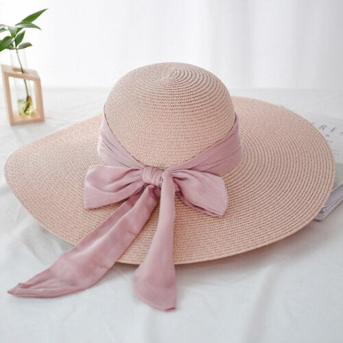 40s Romantic Pink Straw Hat - Ma Penderie Vintage