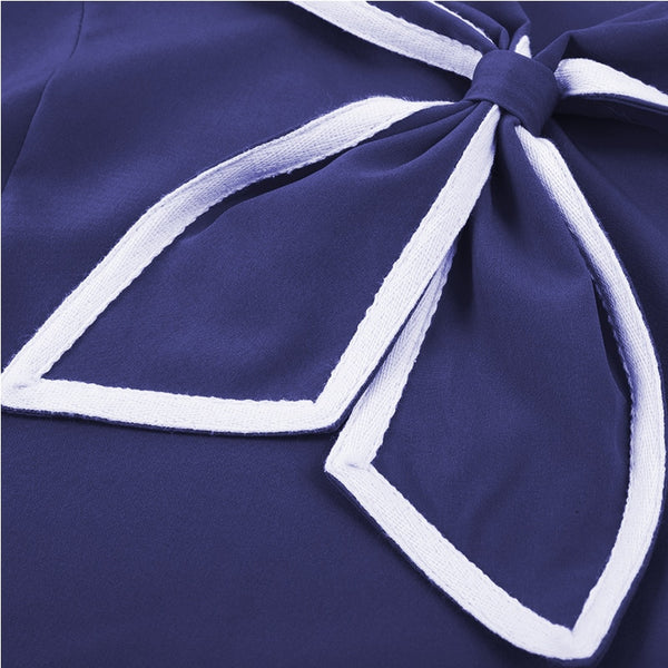 50's Nautical Flared Dress Navy Knot - Ma Penderie Vintage