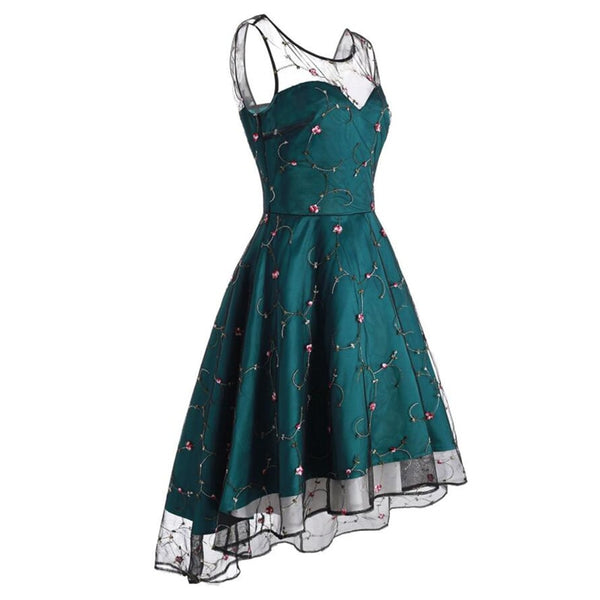 50s Flared Pin Up Floral Embroidery Dress - Ma Penderie Vintage