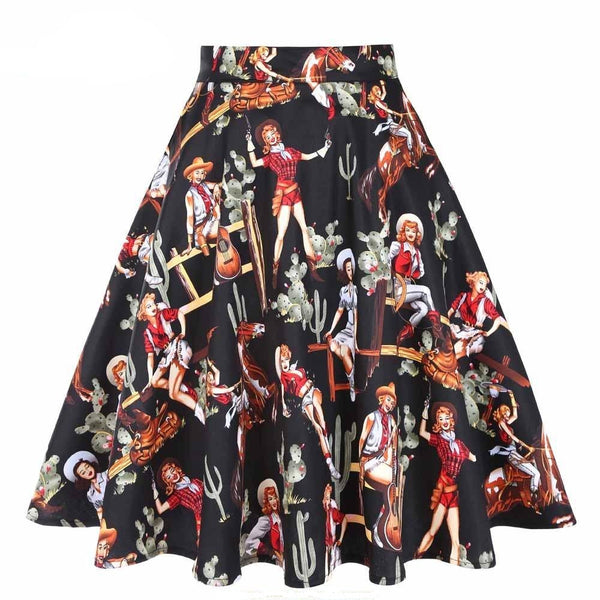 50s Pin Up Cow Girl Print Skirt - Ma Penderie Vintage