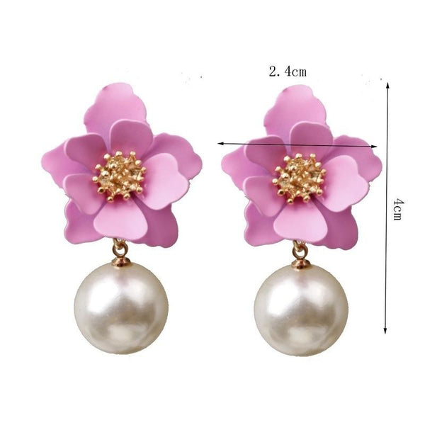 40s Retro Flower And Pink Pearl Earrings - Ma Penderie Vintage