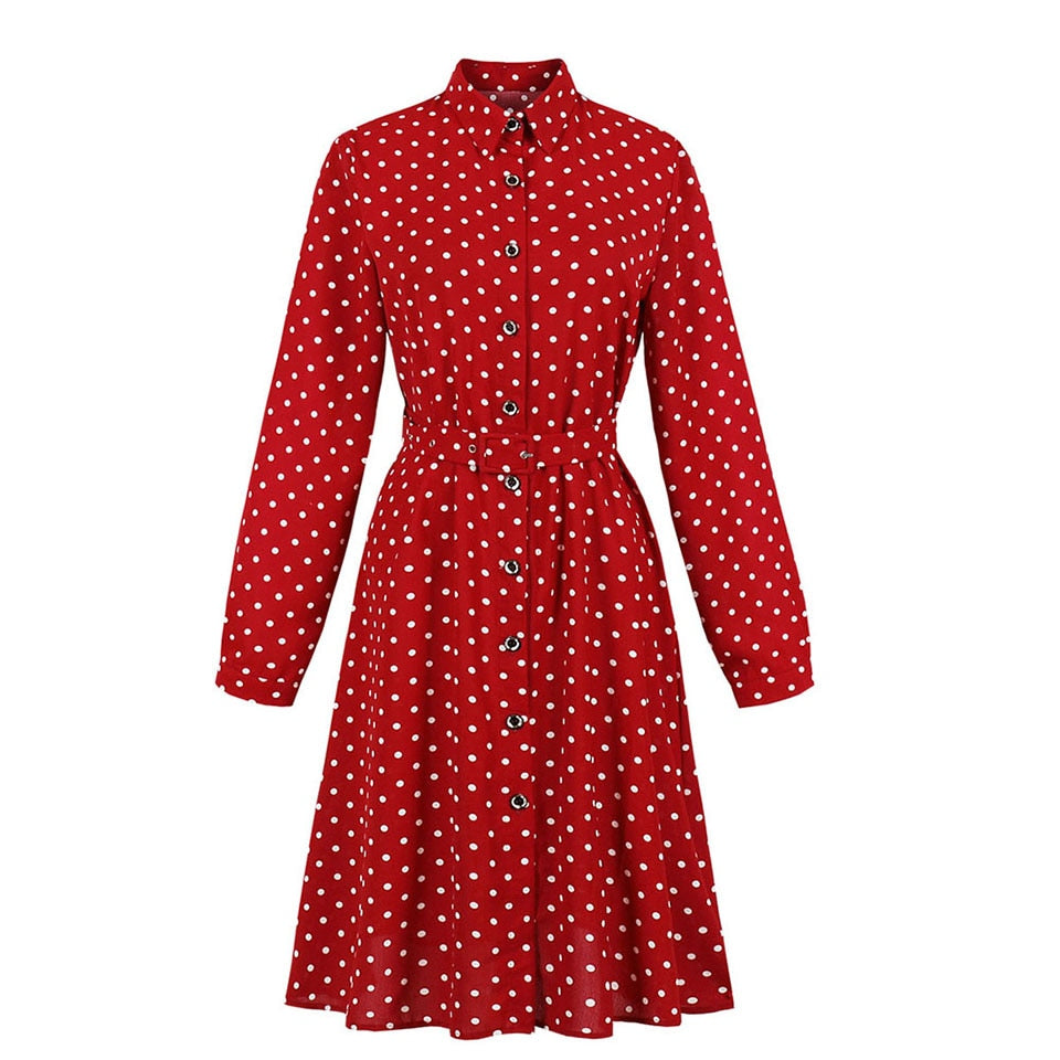 40s Vintage Flared Dress With Red Dots - Ma Penderie Vintage