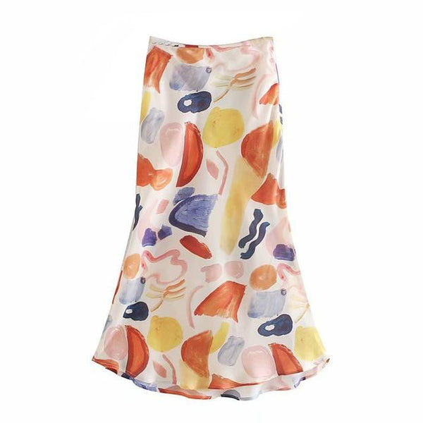 50s Pin Up Picasso Printed Slit Skirt - Ma Penderie Vintage