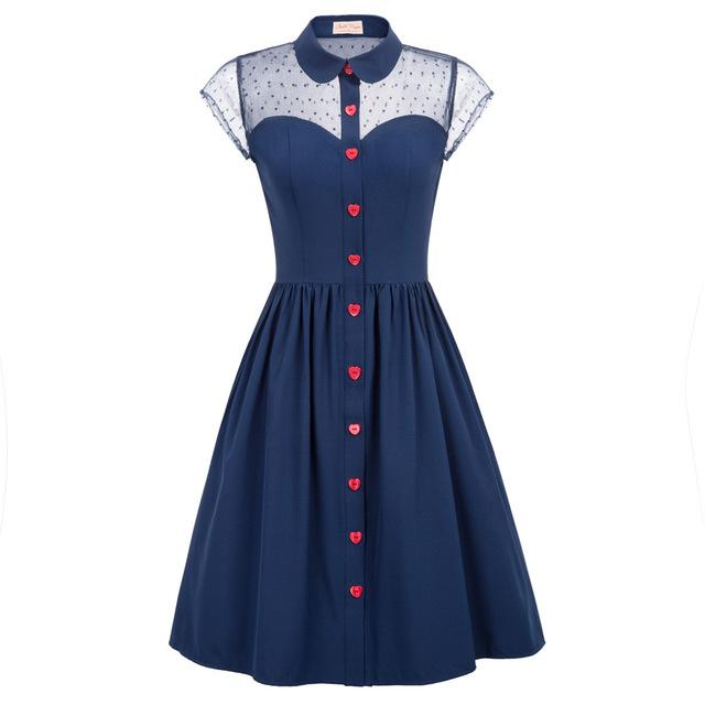 1950 Flared Pin Up Dress with Heart Buttons - Ma Penderie Vintage