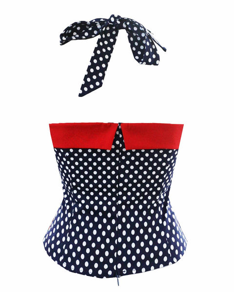 60s Pin Up Suspender Blouse Polka Dot - Ma Penderie Vintage