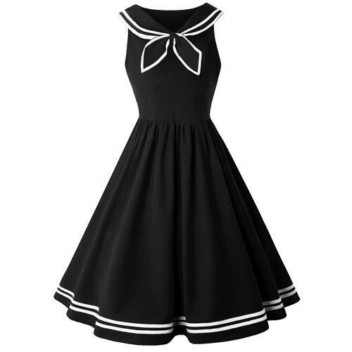 50's Nautical Flared Dress Black Bow - Ma Penderie Vintage